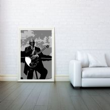 B.B. King, Decorative Arts, Prints & Posters,Wall Art Print, Poster Any Size - Black and White Poster